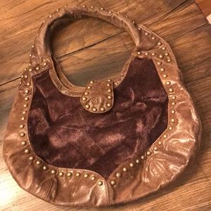 Handbags - Brown faux leather and fur bag